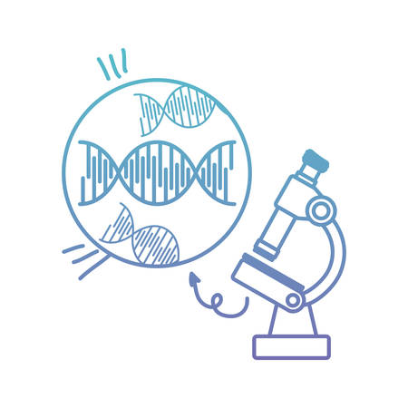 dna chain with microscope vector illustration design