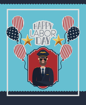 happy labor day card with pilot and usa flag vector illustration design