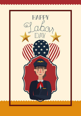 happy labor day card with woman pilot and balloons vector illustration