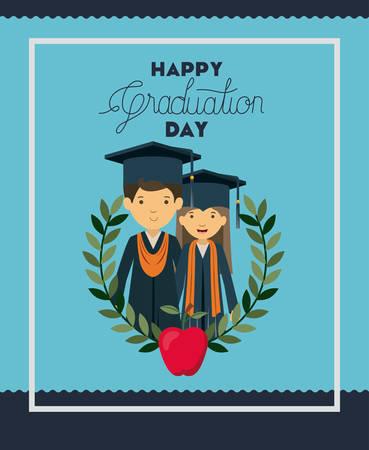graduation card with couple graduates vector illustration design Illustration
