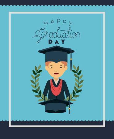 graduation card with man character vector illustration design