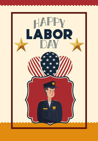 happy labor day card with police and usa flag vector illustration design Illustration