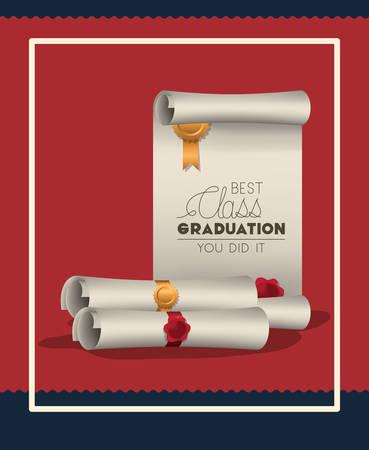 graduation card with diploma vector illustration design