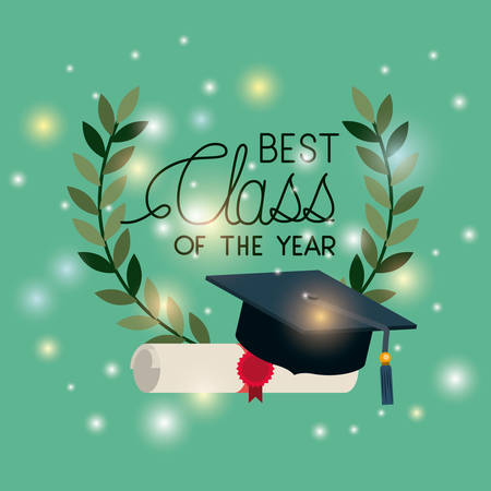 graduation card with diploma and hat vector illustration design