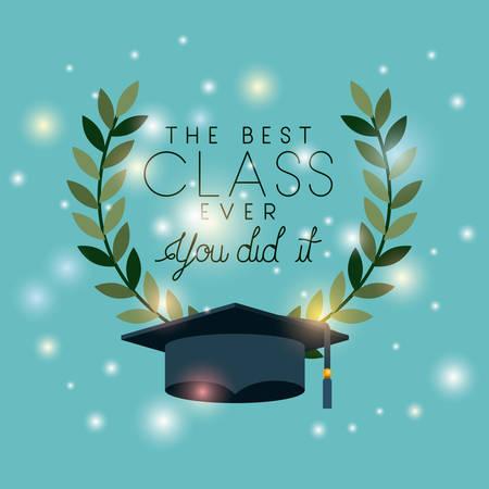 graduation card with hat vector illustration design