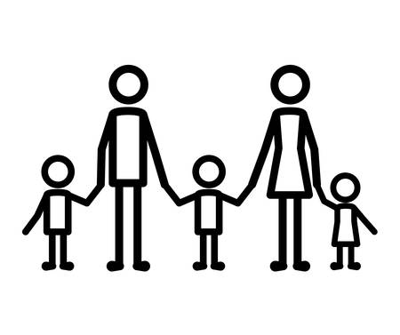 parents couple with kids figures vector illustration design