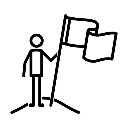 figure man with success flag vector illustration design