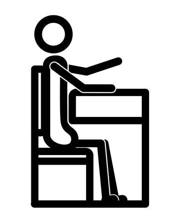 Silueta de figura de estudiante en el asiento, diseño de ilustraciones vectoriales