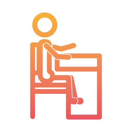 student figure silhouette in the seat vector illustration design