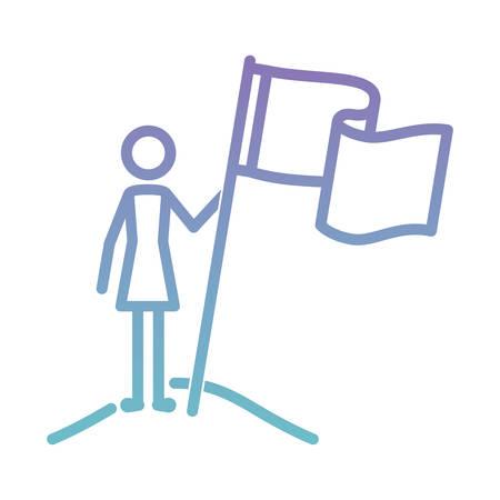 figure woman with success flag vector illustration design