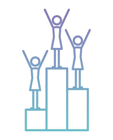 group of women in podium silhouettes vector illustration design
