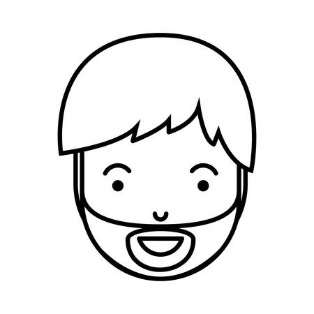 young man head with beard avatar character vector illustration design