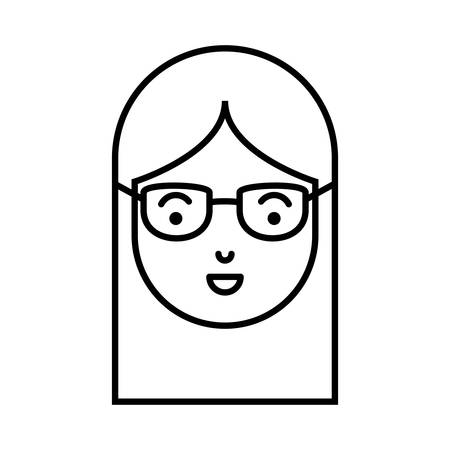 beautiful and young woman head with glasses vector illustration design