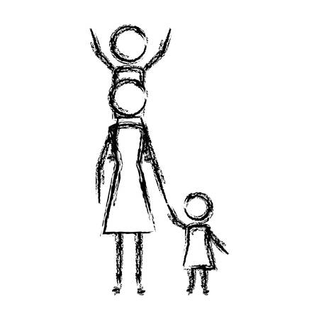 mother with son and daughter figures silhouettes vector illustration design