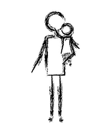 father with daughter figures silhouettes vector illustration design Illustration