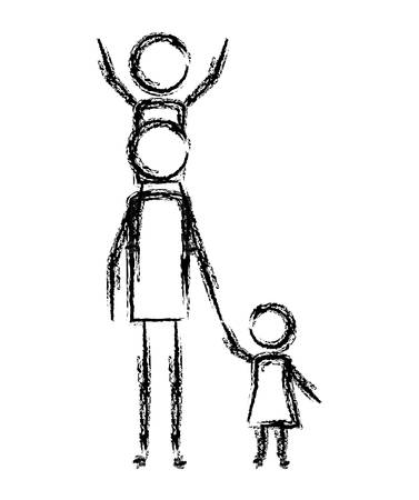 father with son and daughter figures silhouettes vector illustration design Illustration