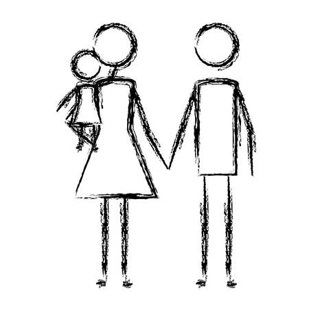 parents couple with daughter vector illustration design