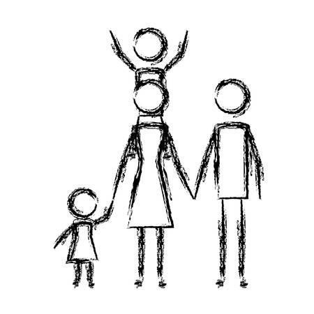 i genitori si accoppiano con il disegno dell'illustrazione di vettore delle figure dei bambini