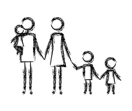 parents couple with kids figures vector illustration design