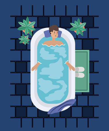 man taking a bath tub vector illustration design Illusztráció