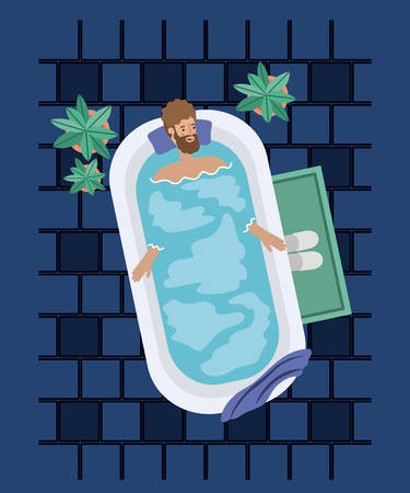 man with beard taking a bath tub vector illustration design