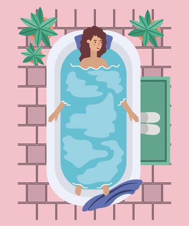 woman taking a bath tub vector illustration design