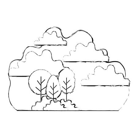 forest landscape with sky scene vector illustration design