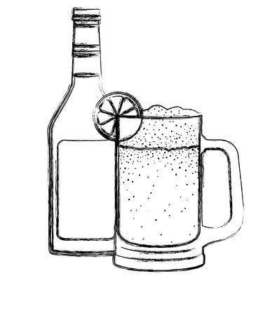 jar beer with bottle drink icon vector illustration design