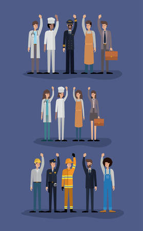 group of workers avatars characters vector illustration design Vectores