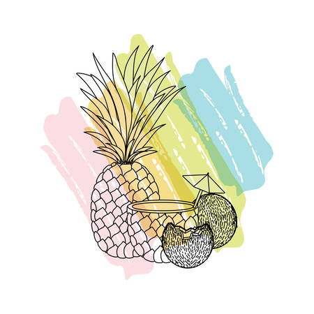 coconut and pineapple cocktails vector illustration design