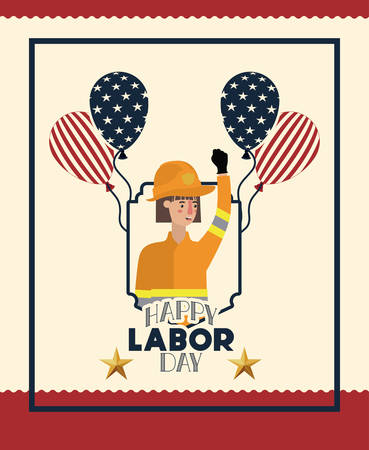 happy labor day card with firewoman and balloons vector illustration