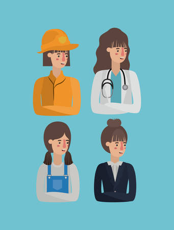 group of women workers avatars characters vector illustration design