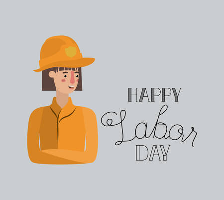 happy labor day card with firewoman vector illustration design