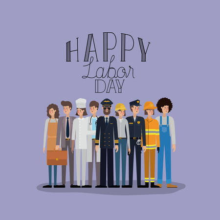 happy labor day card with workers vector illustration design