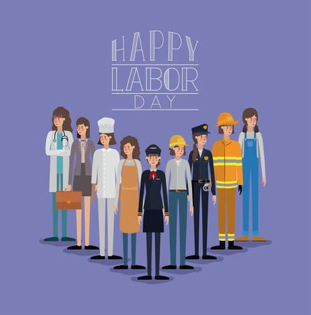 Tarjeta del feliz día del trabajo con mujeres trabajadoras, diseño de ilustraciones vectoriales