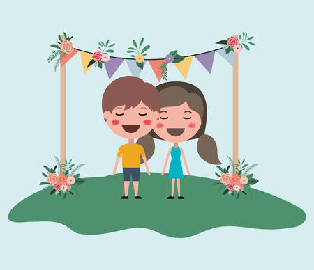 wedding invitation card with couple characters and garlands party Illustration