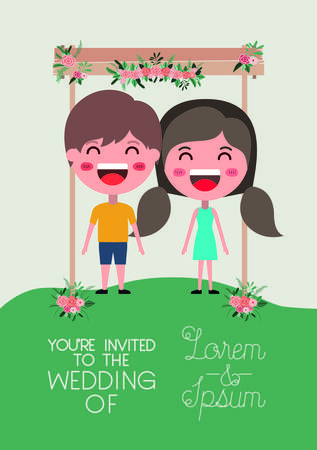 wedding invitation card with couple in wooden frame and flowers Illustration