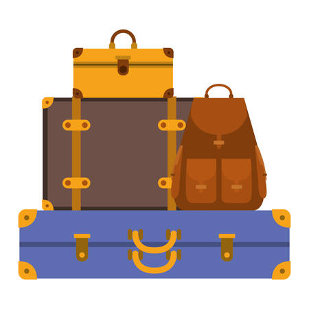 suitcases bags pile isolated icon vector illustration design
