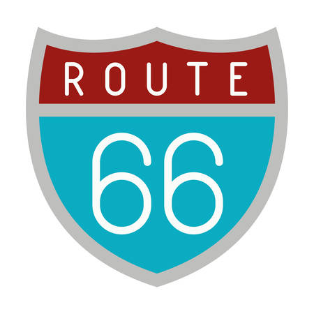route 66 shield isolated icon vector illustration design