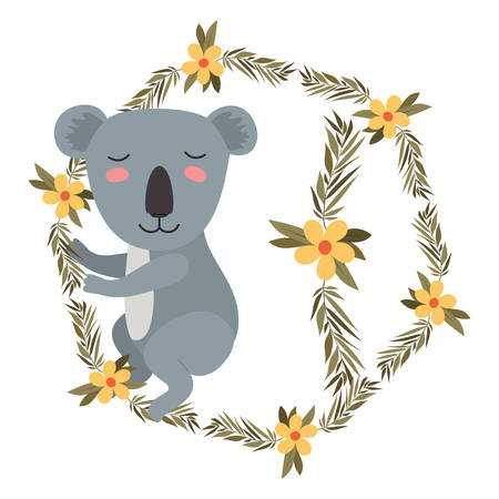 wild koala in wreath crown vector illustration design