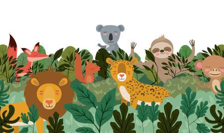 Animales salvajes en la escena de la selva, diseño de ilustraciones vectoriales
