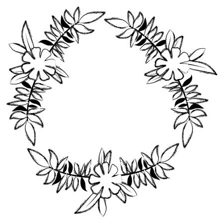 beautiful flower and leafs circular frame vector illustration design