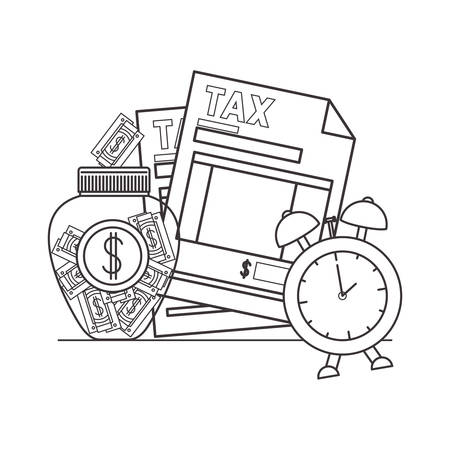 tax document with money and alarm clock vector illustration design