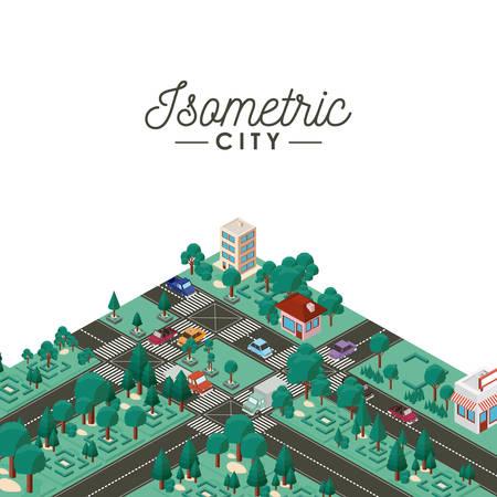 isometric city scene icons vector illustration design