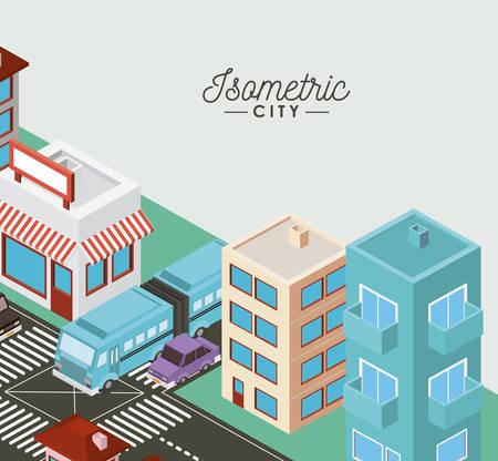 isometric city scene icons vector illustration design Ilustração Vetorial