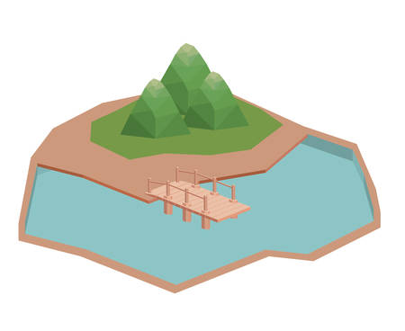 Mountain and lake icon. Isometric 3d structure and perspective theme. Isolated design. Vector illustration Stok Fotoğraf - 110250768