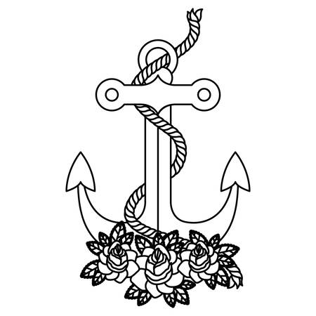 Anchor roses and rope icon. Sea lifestyle nautical and marine theme. Isolated design. Vector illustration