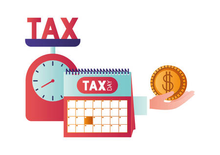 scale with taxes and set icons vector illustration design