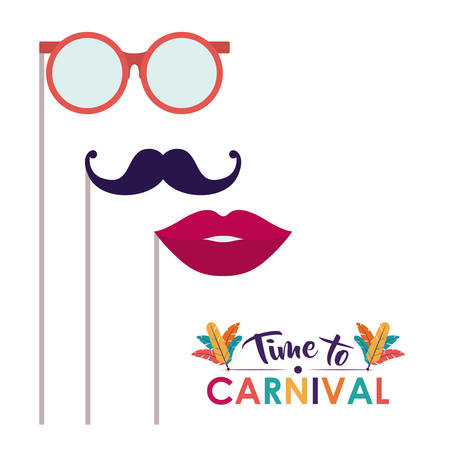 glasses mustache mouth carnival festival circus fair celebration  icon. Colorful design. Vector illustration Çizim
