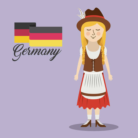 woman germany culture avatar vector illustration design
